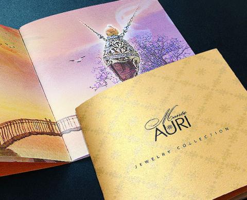 Премиальный буклет на выставку для ювелирного бренда Monte-Auri